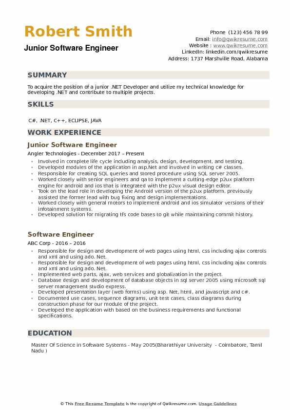 junior software engineer resume samples