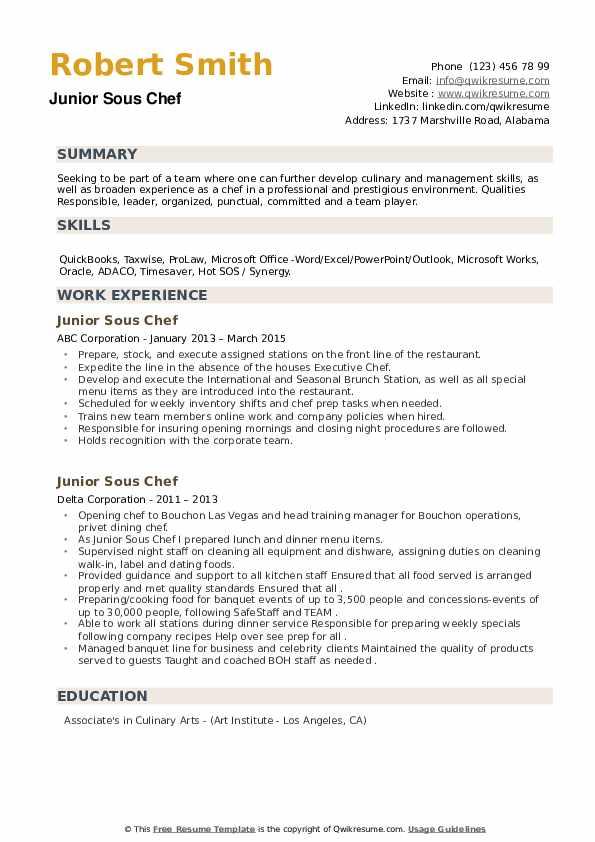 Junior Sous Chef Resume example
