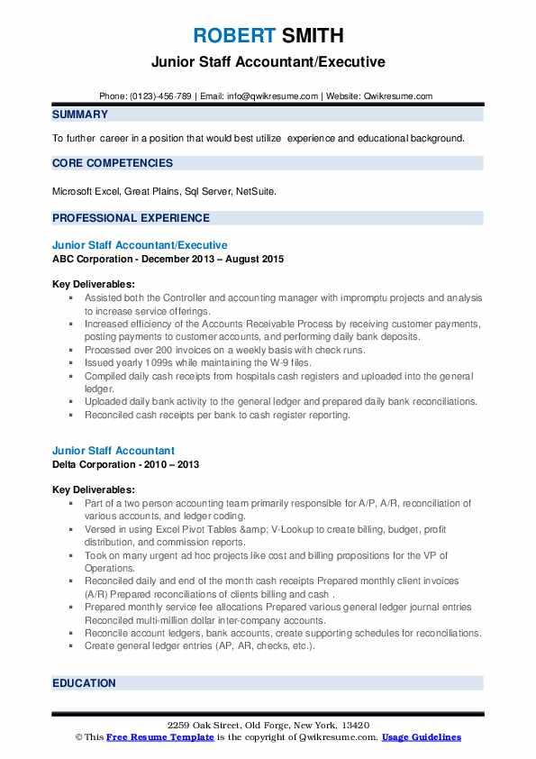 junior staff accountant resume samples  qwikresume