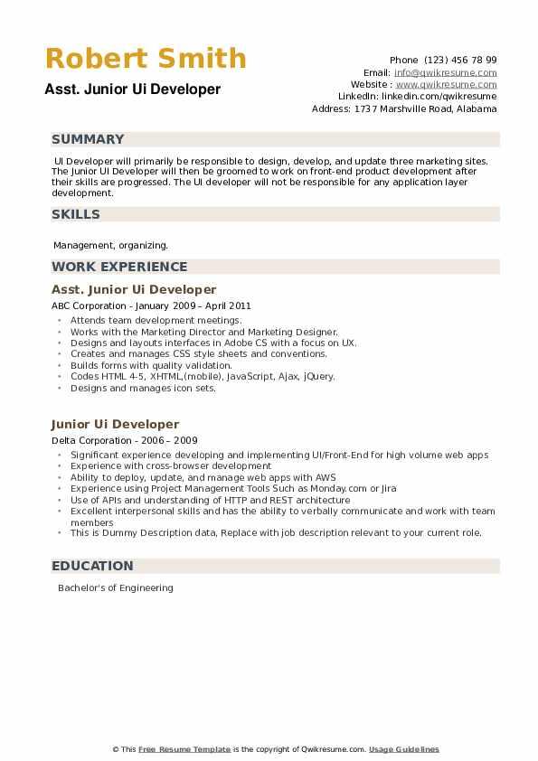 Junior UI Developer Resume example