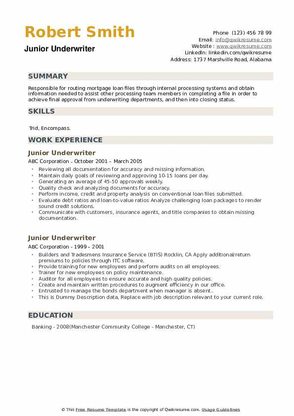 Junior Underwriter Resume example