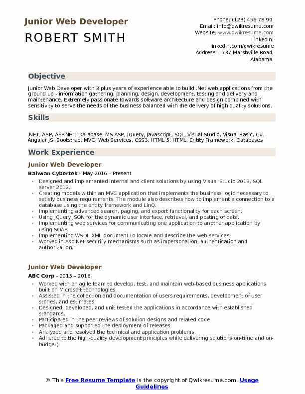 Junior Web Developer Resume Example