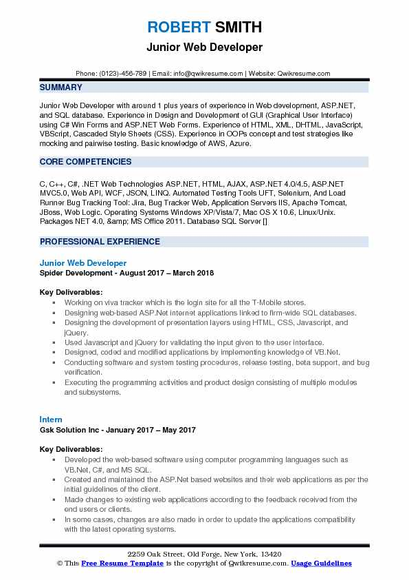 Junior Web Developer Resume Sample