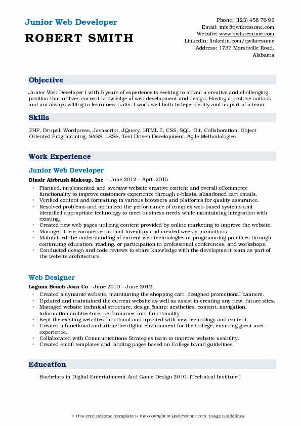 Junior Web Developer Resume Model