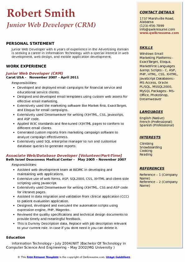 Junior Web Developer (CRM) Resume Format