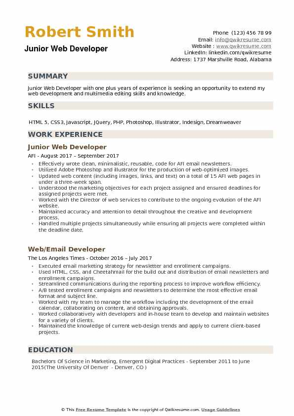 Junior Web Developer Resume Samples Qwikresume