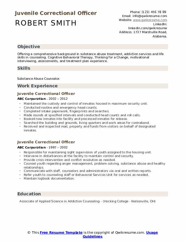 Juvenile Correctional Officer Resume Model