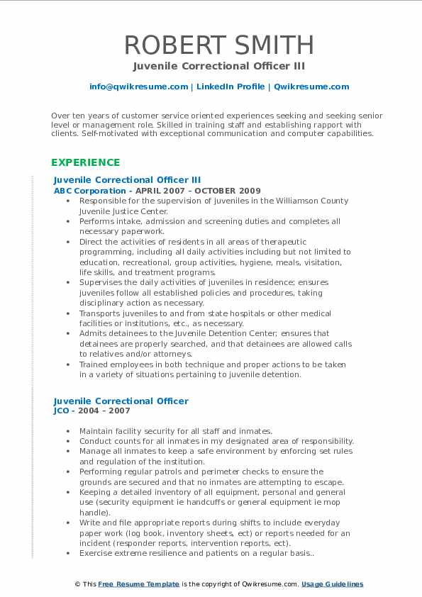 Juvenile Correctional Officer III Resume Example