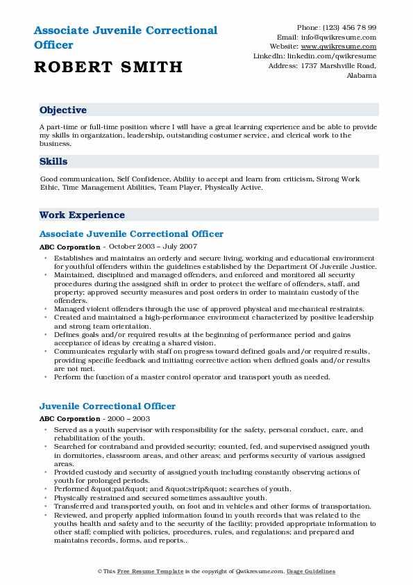 Associate Juvenile Correctional Officer Resume Model