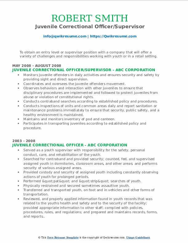 Juvenile Correctional Officer/Supervisor Resume Template