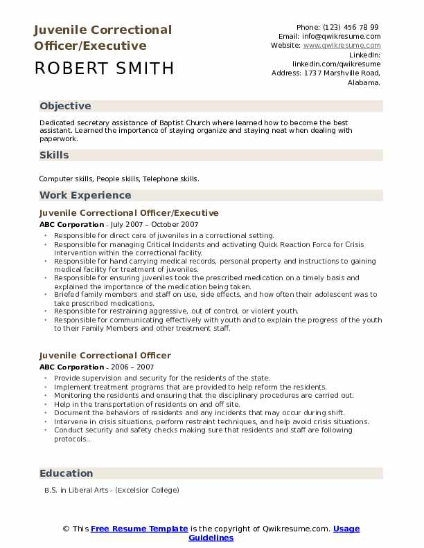 Juvenile Correctional Officer/Executive Resume Format