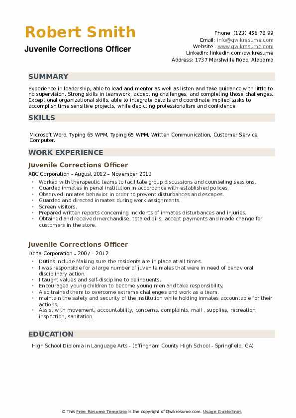 Juvenile Corrections Officer Resume example