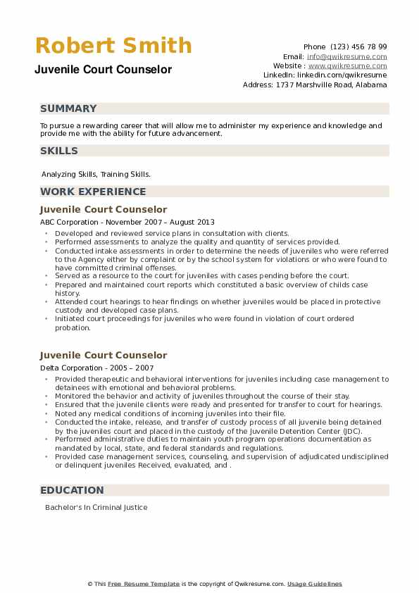 Juvenile Court Counselor Resume example