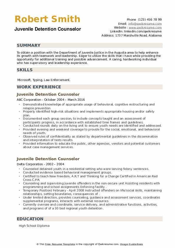 Juvenile Detention Counselor Resume example
