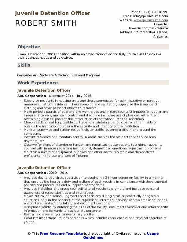 Juvenile Detention Officer Resume Format