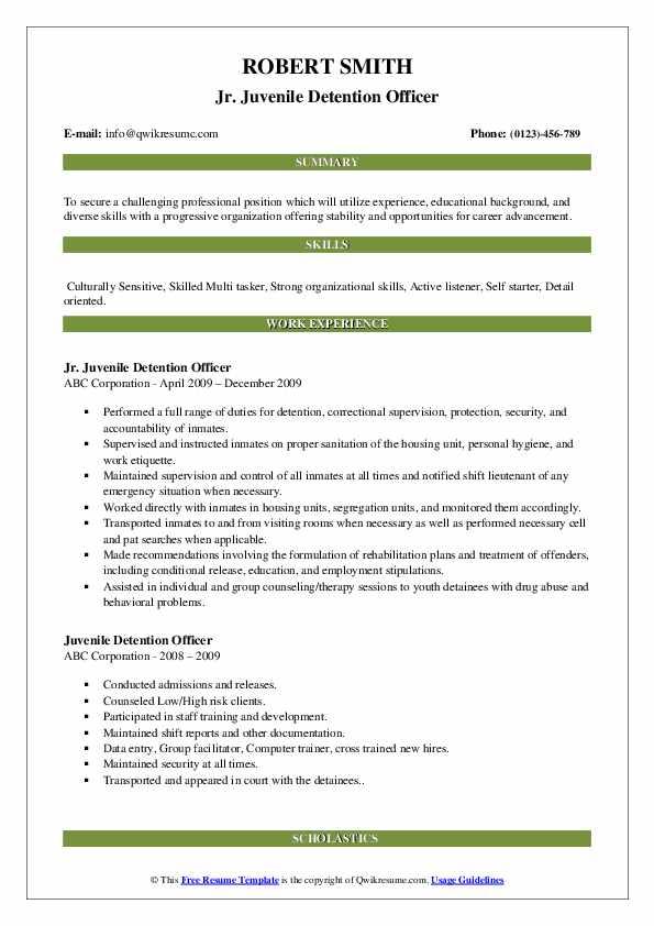 Jr. Juvenile Detention Officer Resume Format