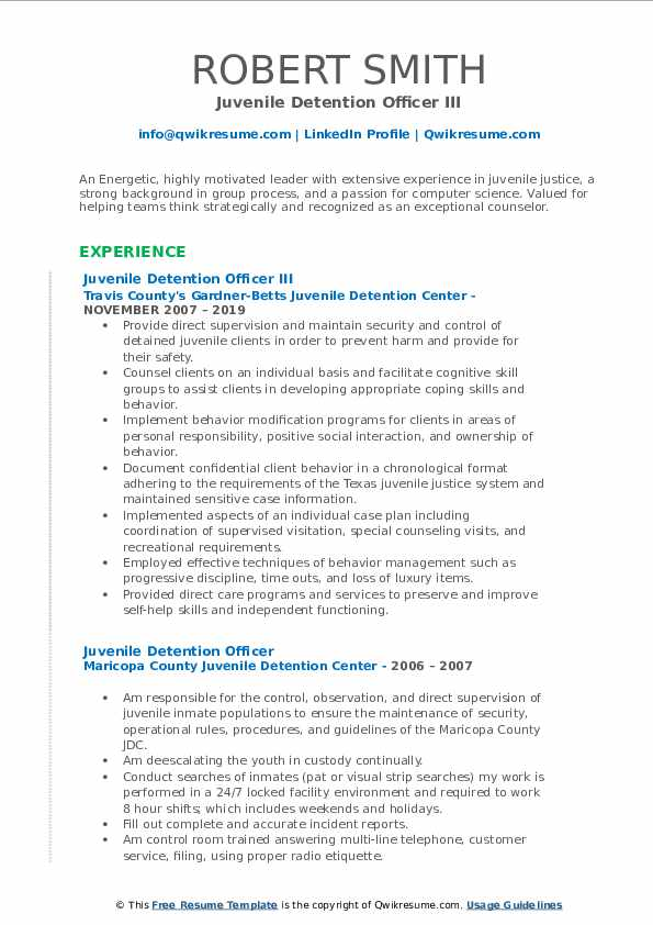 Juvenile Detention Officer III Resume Format