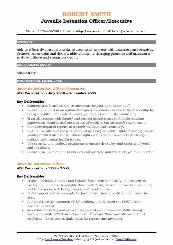 Juvenile Detention Officer/Executive Resume Model