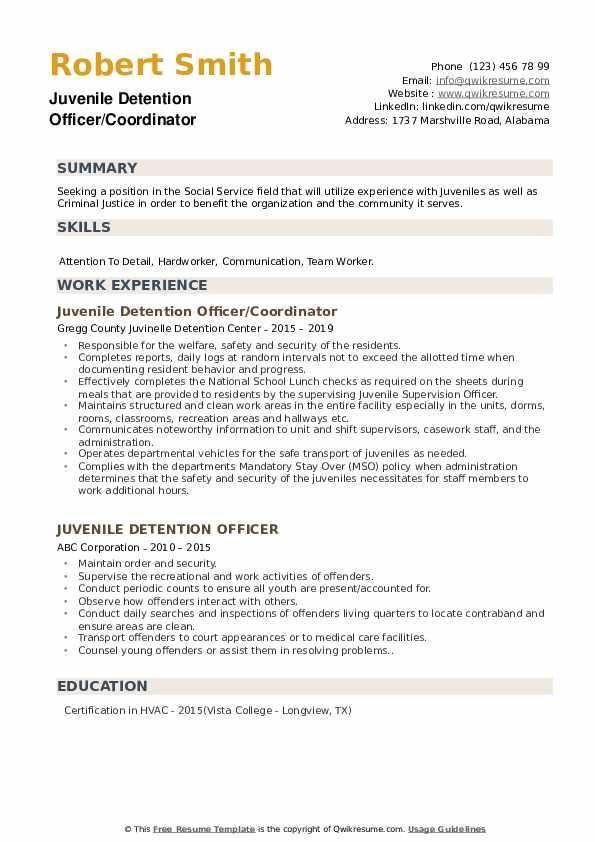 Juvenile Detention Officer/Coordinator Resume Example