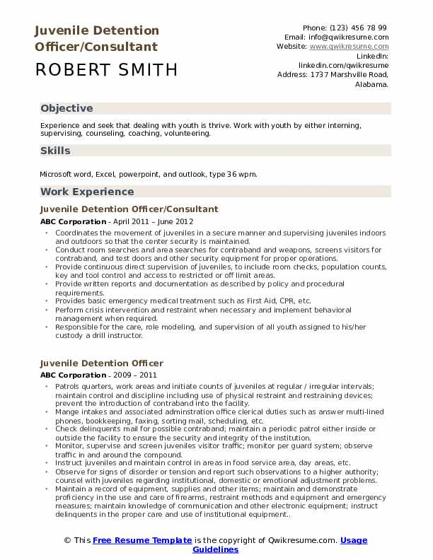 Juvenile Detention Officer/Consultant Resume Example