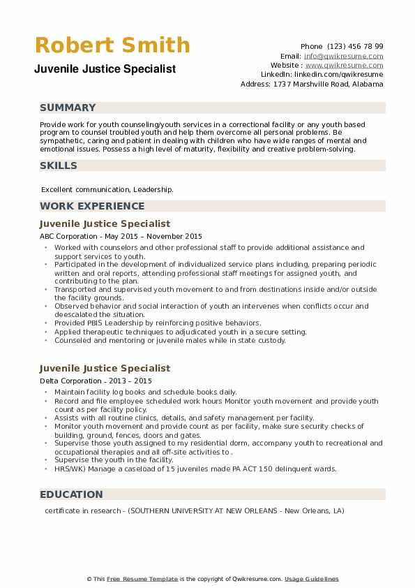 Juvenile Justice Specialist Resume example