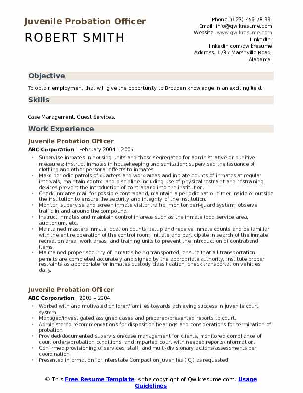 Juvenile Probation Officer Resume Model