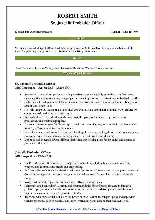 Sr. Juvenile Probation Officer Resume Example
