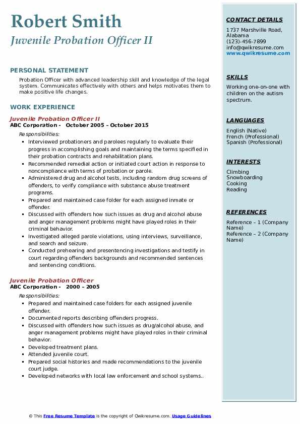 Juvenile Probation Officer II Resume Example