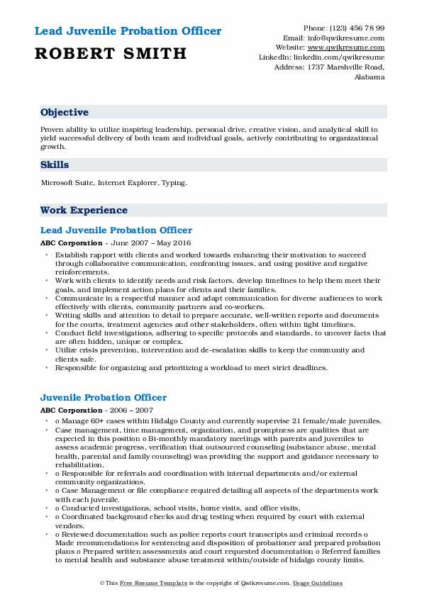 Lead Juvenile Probation Officer  Resume Example