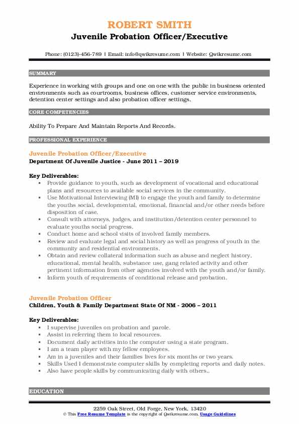 Juvenile Probation Officer/Executive Resume Example