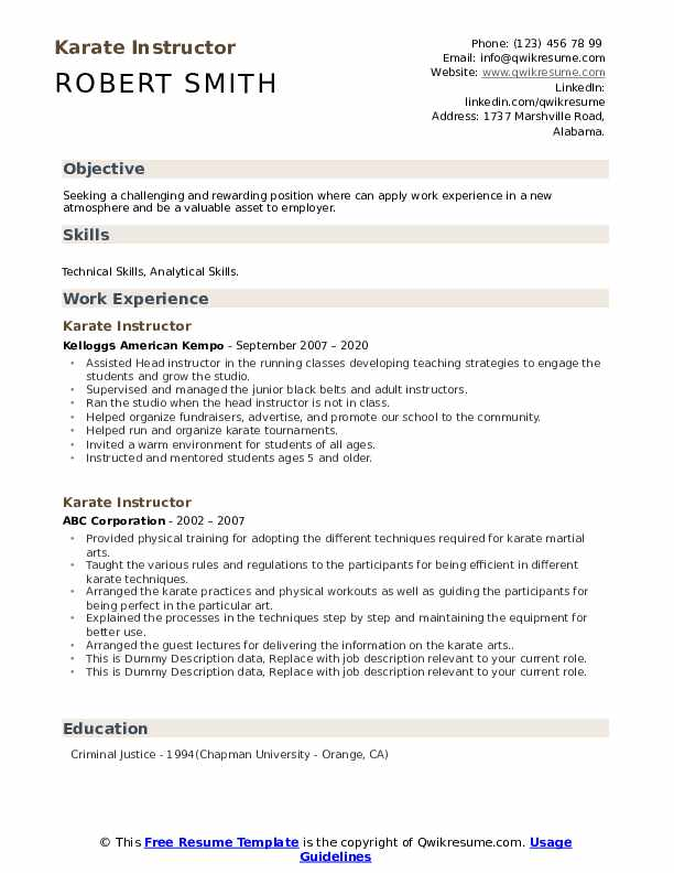 Karate Instructor Resume example