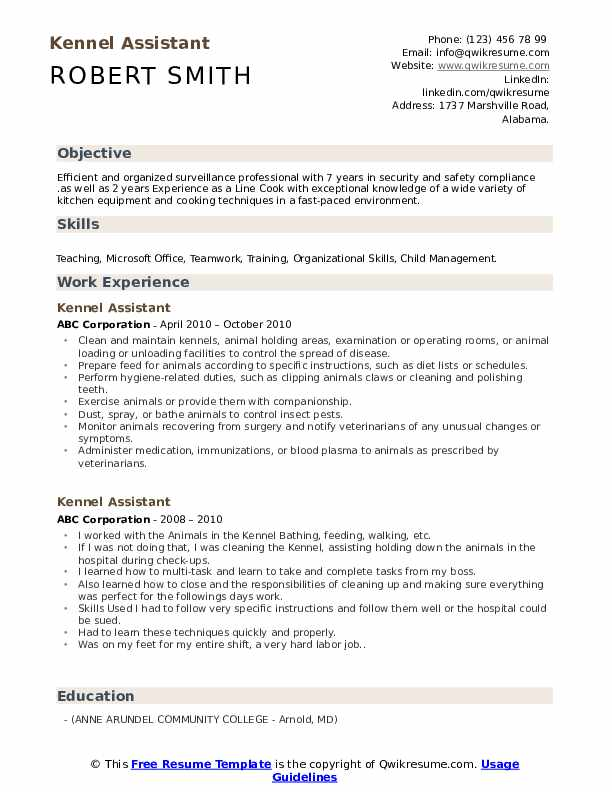 Kennel Assistant Resume Example