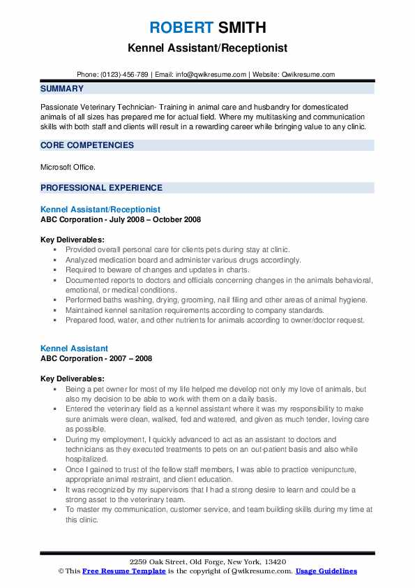Kennel Assistant/Receptionist Resume Format