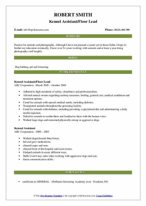 Kennel Assistant/Floor Lead Resume Format