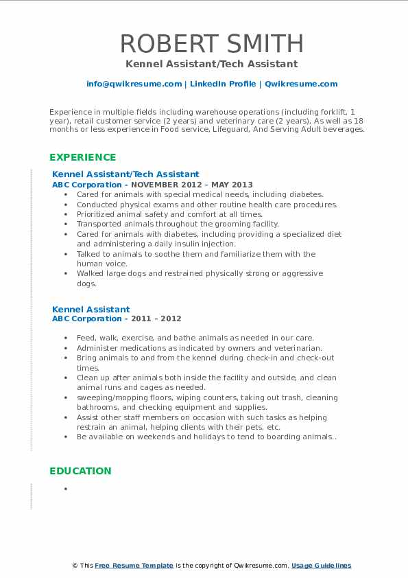 Kennel Assistant/Tech Assistant Resume Template