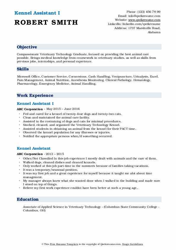Kennel Assistant I Resume Format