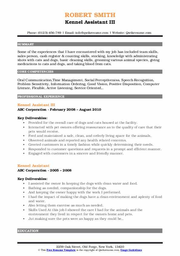 Kennel Assistant III Resume Format