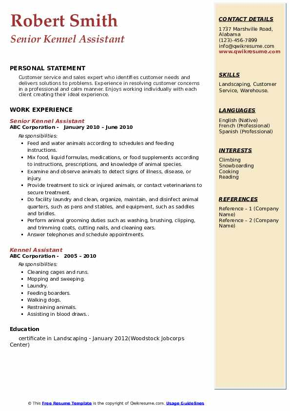 Kennel Assistant Resume Samples