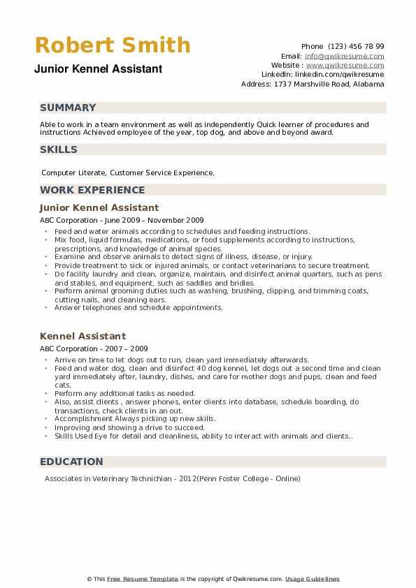 Junior Kennel Assistant Resume Model