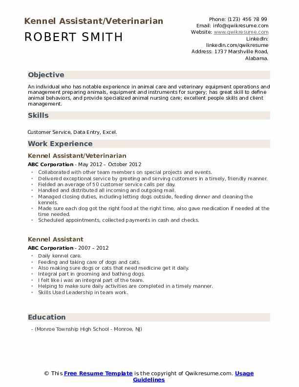 Kennel Assistant/Veterinarian Resume Example