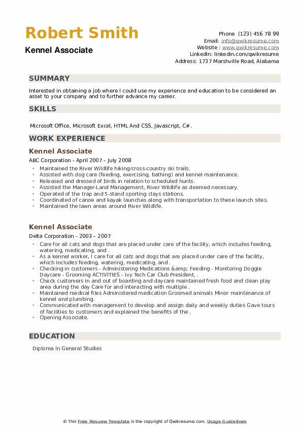 Kennel Associate Resume example