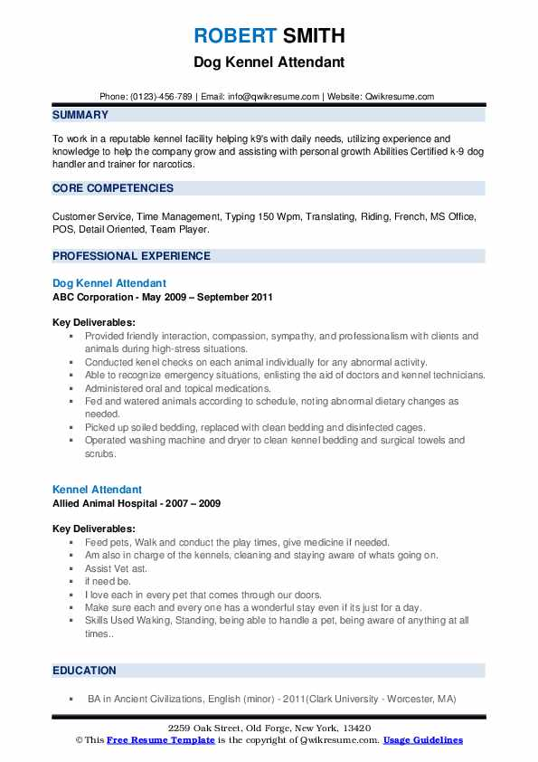 Dog Kennel Attendant Resume Example