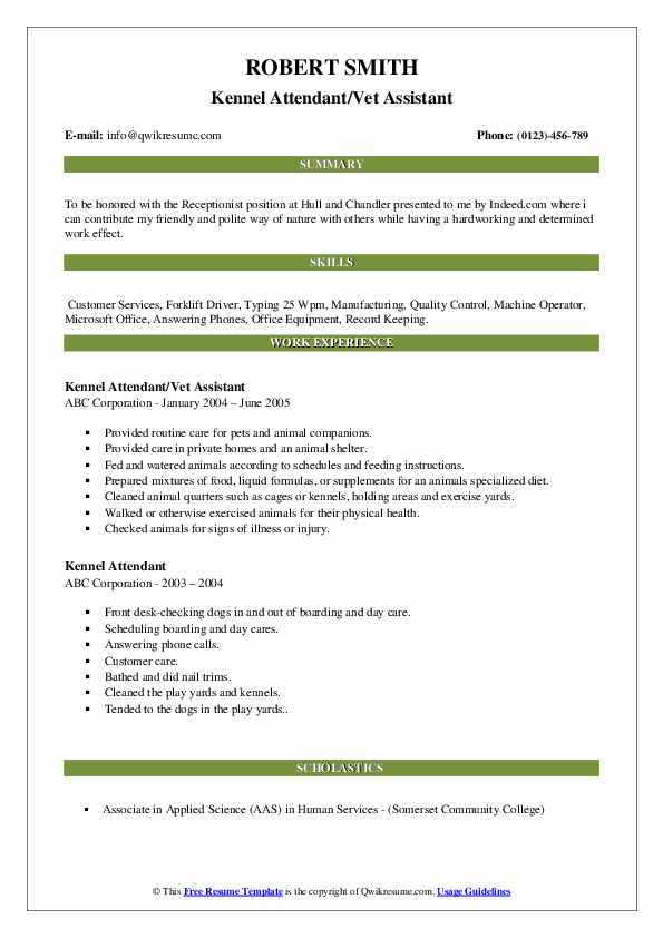 Kennel Attendant/Vet Assistant Resume Sample