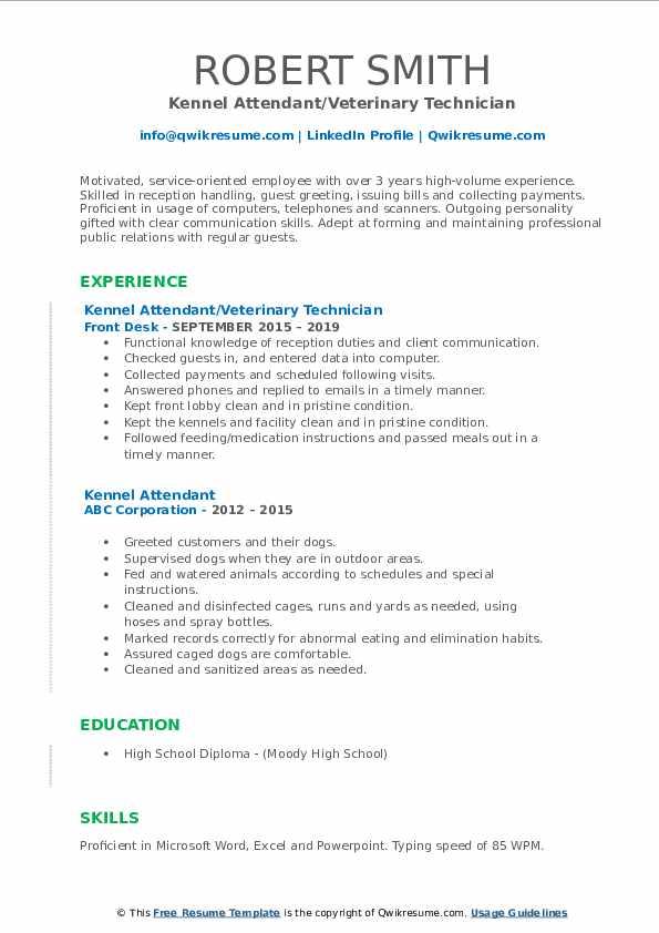 Kennel Attendant/Veterinary Technician Resume Format
