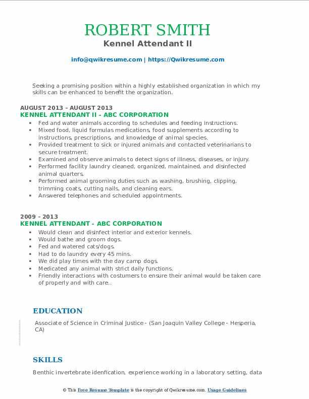 Kennel Attendant II Resume Model
