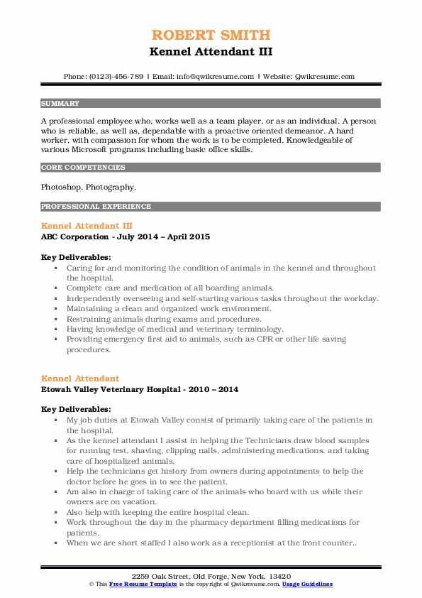 Kennel Attendant III Resume Format