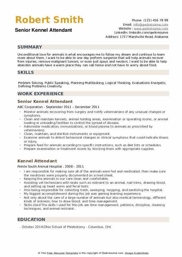 Senior Kennel Attendant Resume Sample