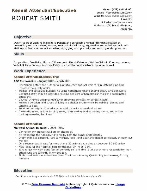 Kennel Attendant/Executive Resume Sample