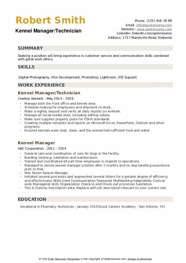 Kennel Manager Resume example
