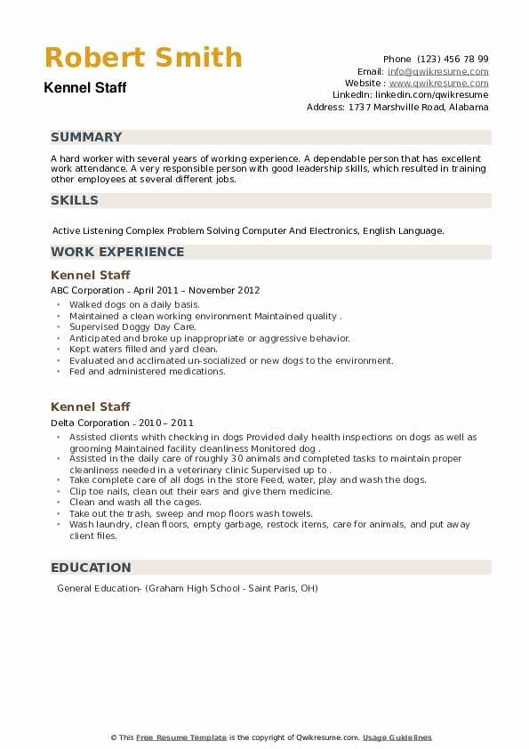 Kennel Staff Resume example
